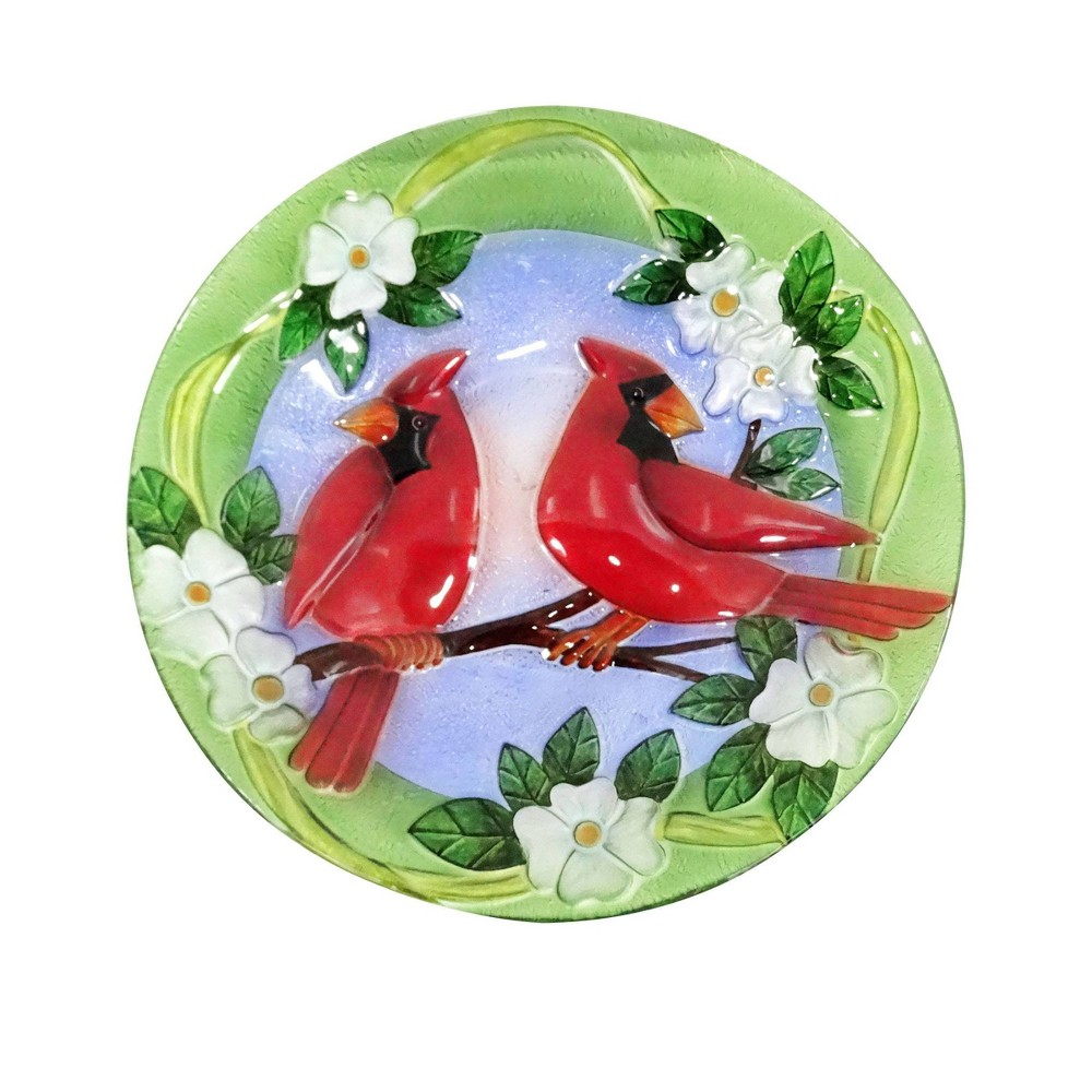"18"" Glass Birdbath with Red Cardinal Bird Paint Finish"