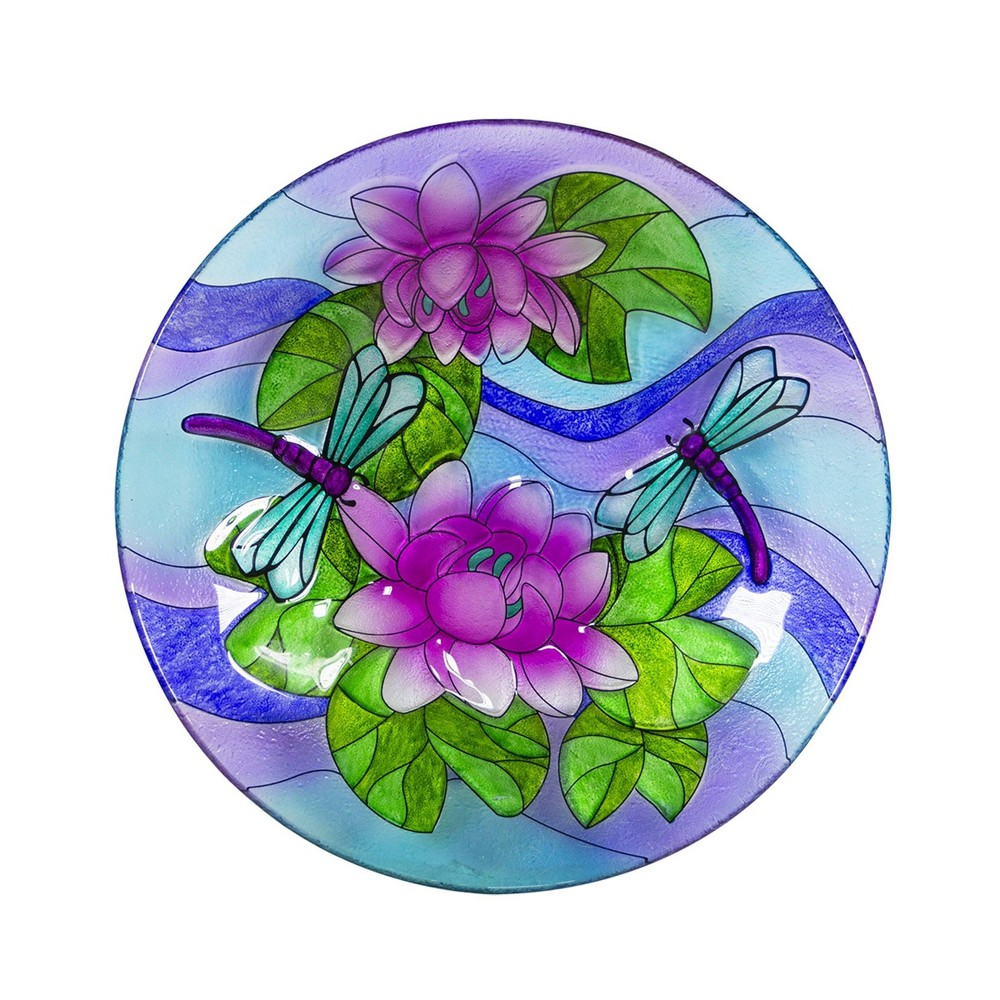 "18"" Glass Birdbath with Purple Dragonfly Paint Finish"