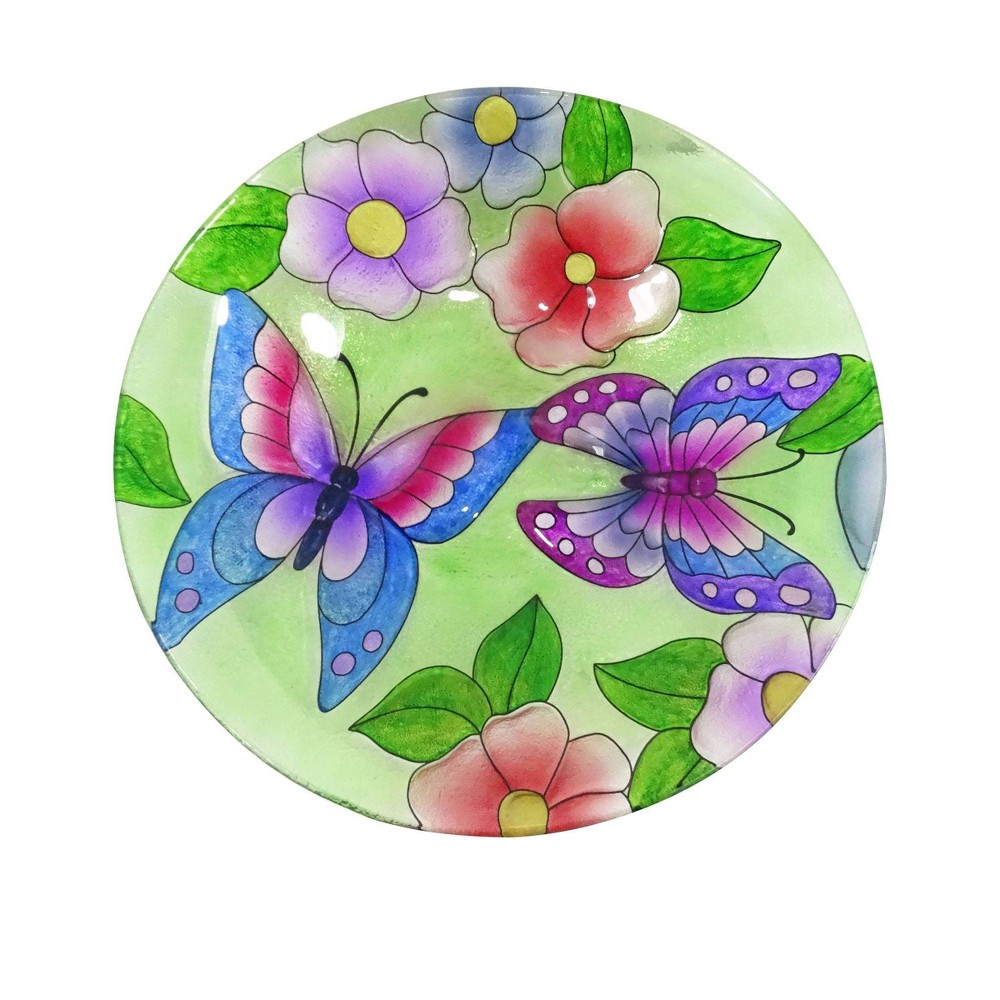 "18"" Glass Birdbath with Purple Butterfly Paint Finish"