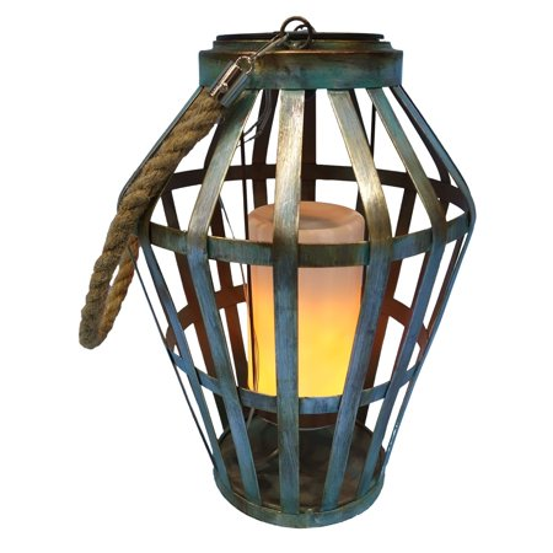 Solar Grey Metal Lantern with Flickering LED Light