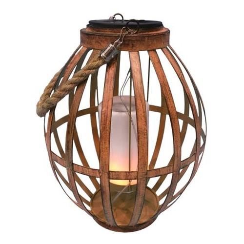 Solar Brown Metal Lantern with Flickering LED Light