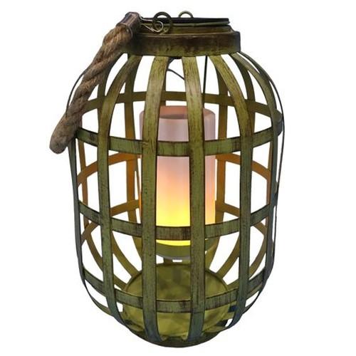 Solar Green Metal Lantern with Flickering LED Light