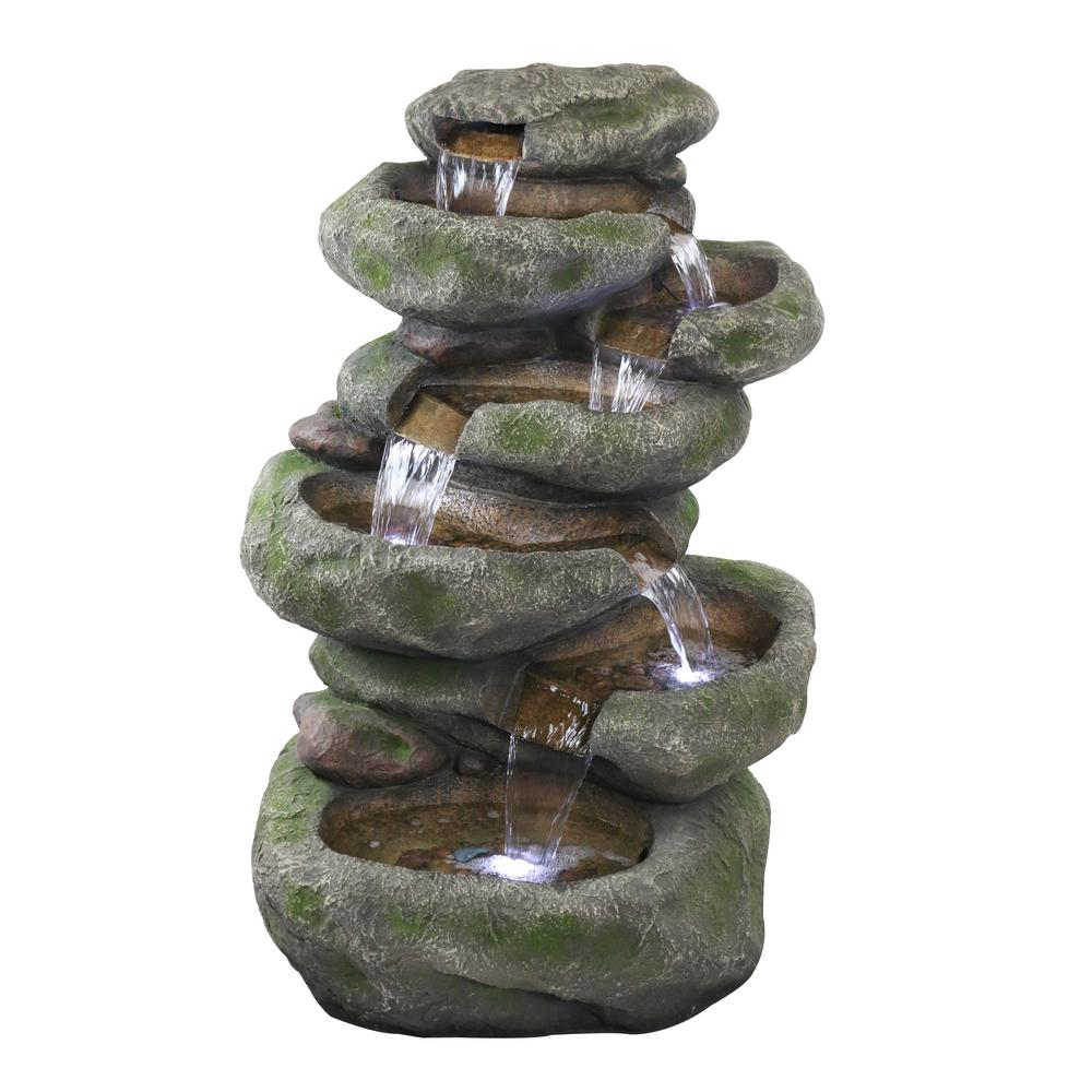 7-Tier Mossy Cascading Rock Fountain and LED Lights
