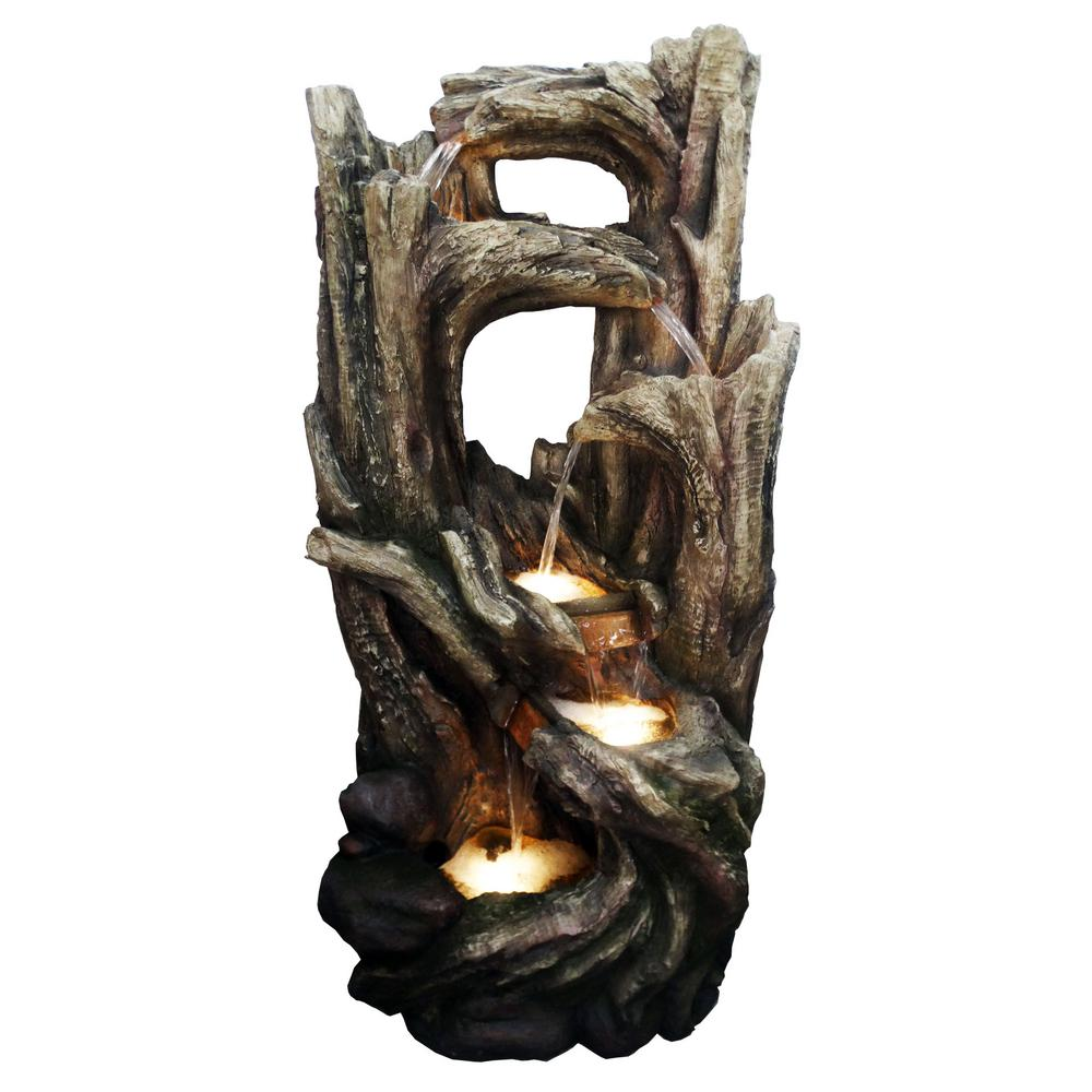 5-Tier Tree Bark Fountain with Cool White LED Lights