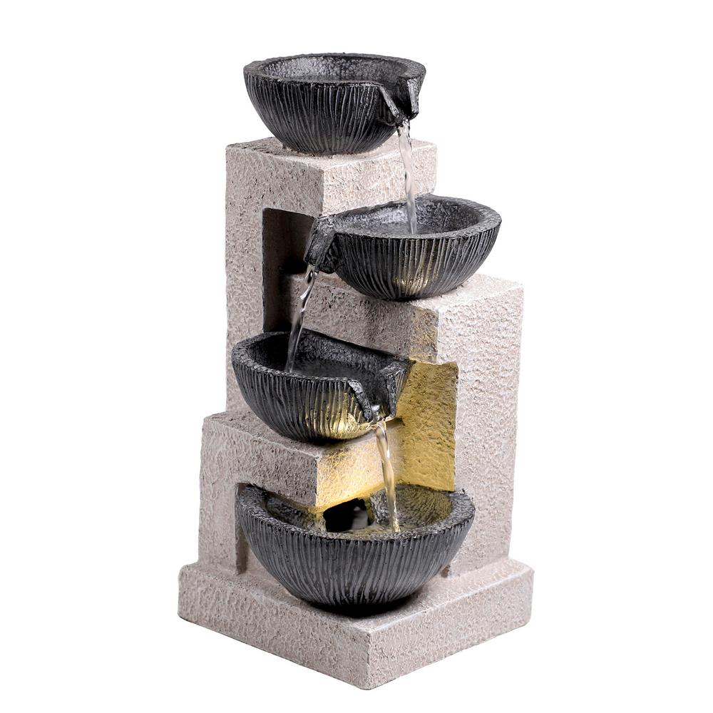 3-Tiered Black Cascading Bowls Fountain with LED Lights