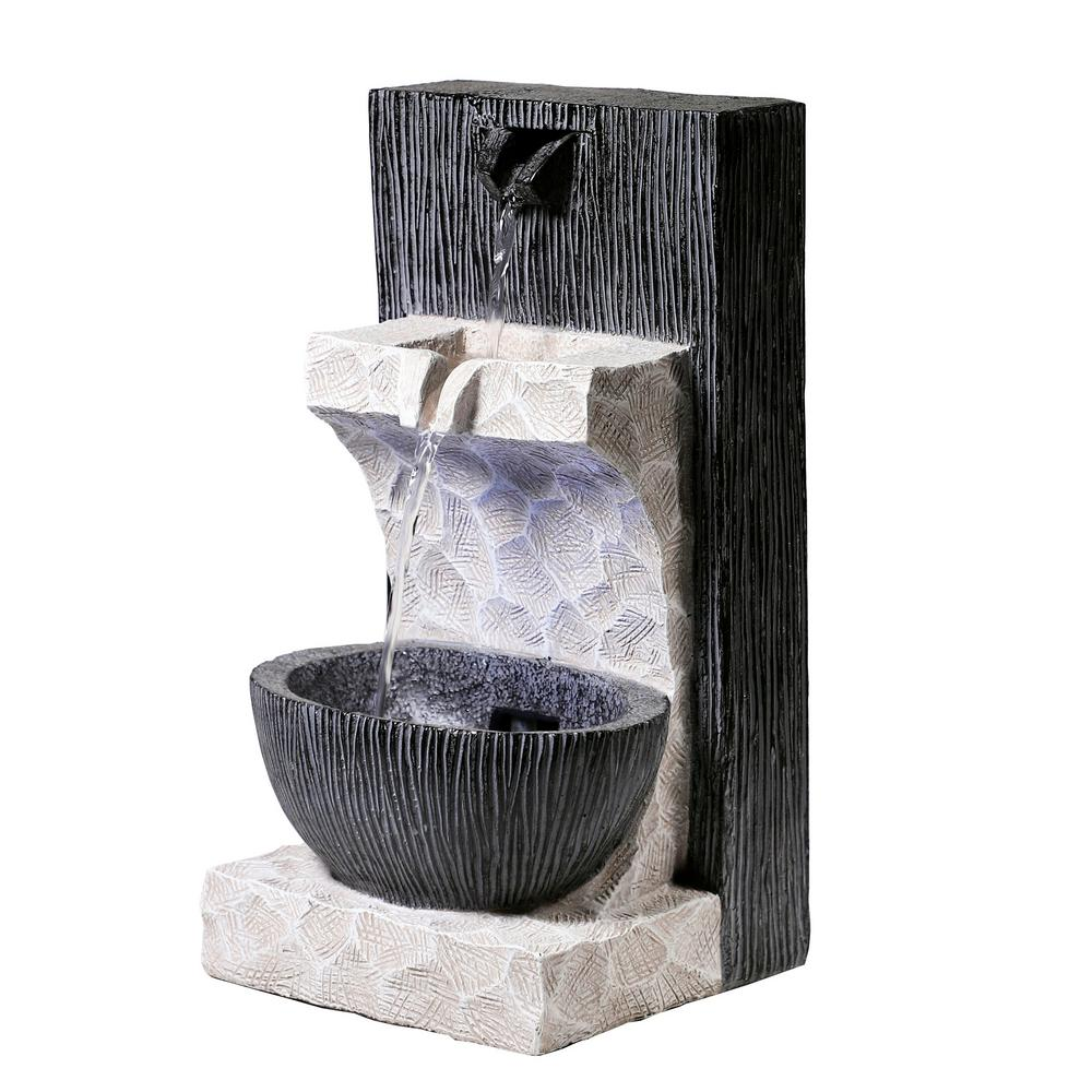 Black and White Modern Cascading Fountain with LED Lights