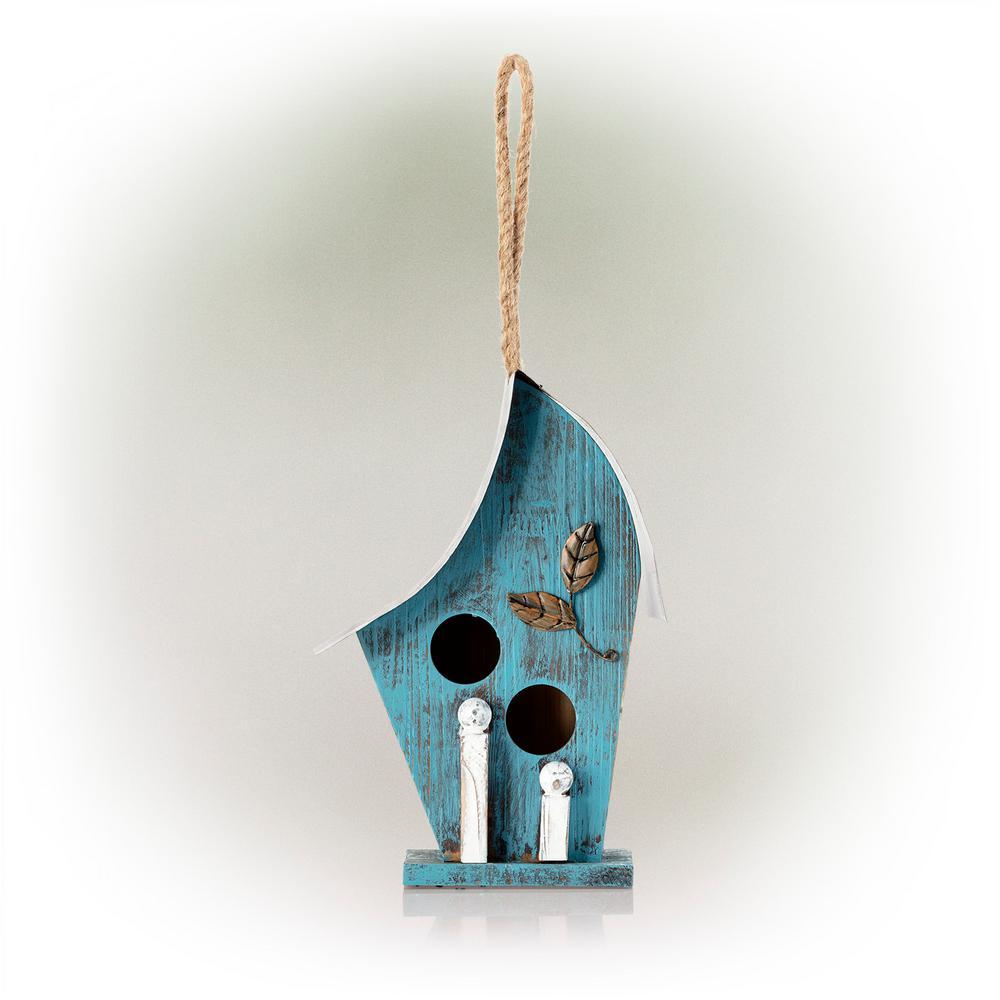 Blue Artful Wooden Birdhouse