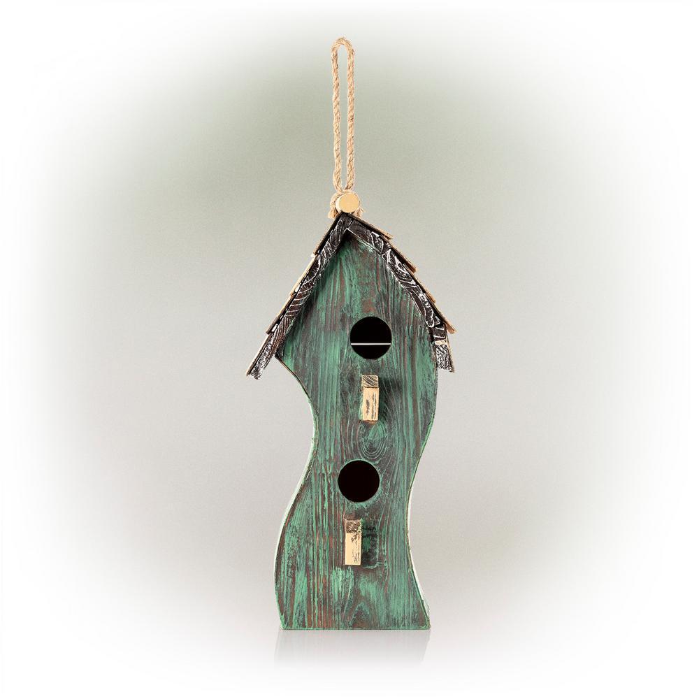 Green Swirly Wooden Birdhouse