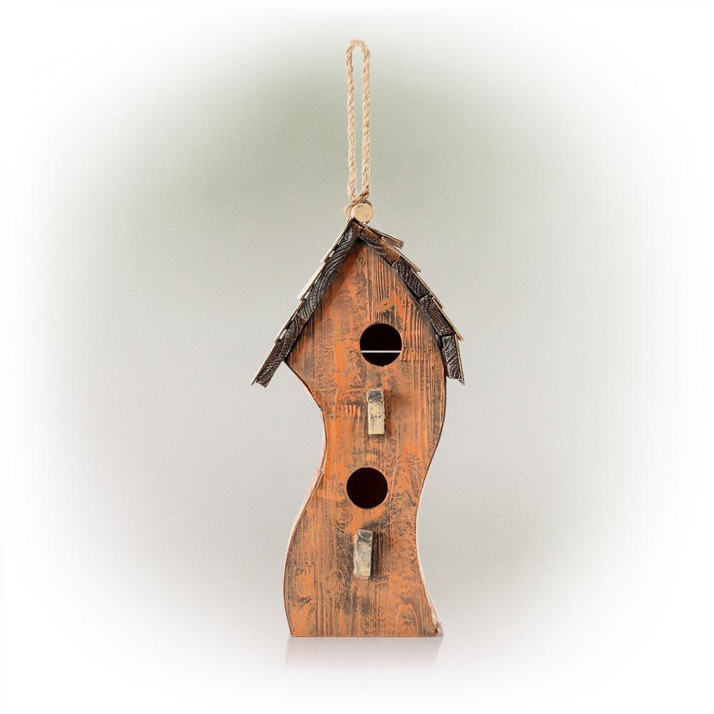 Orange Swirly Wooden Birdhouse