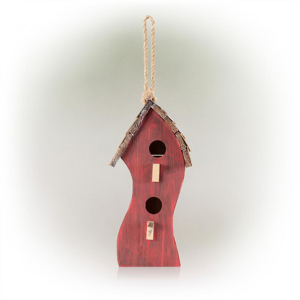 Red Swirly Wooden Birdhouse