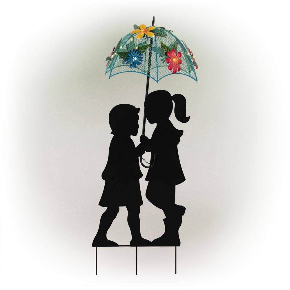 Boy & Girl Silhouettes Holding Solar Lighted Umbrella
