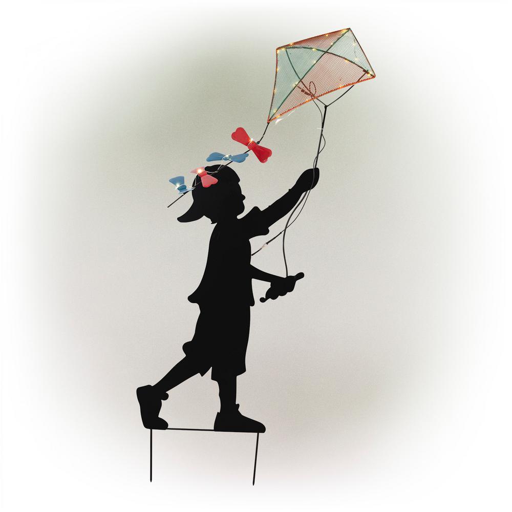 Boy Silhouette Flying Solar Lighted Kite