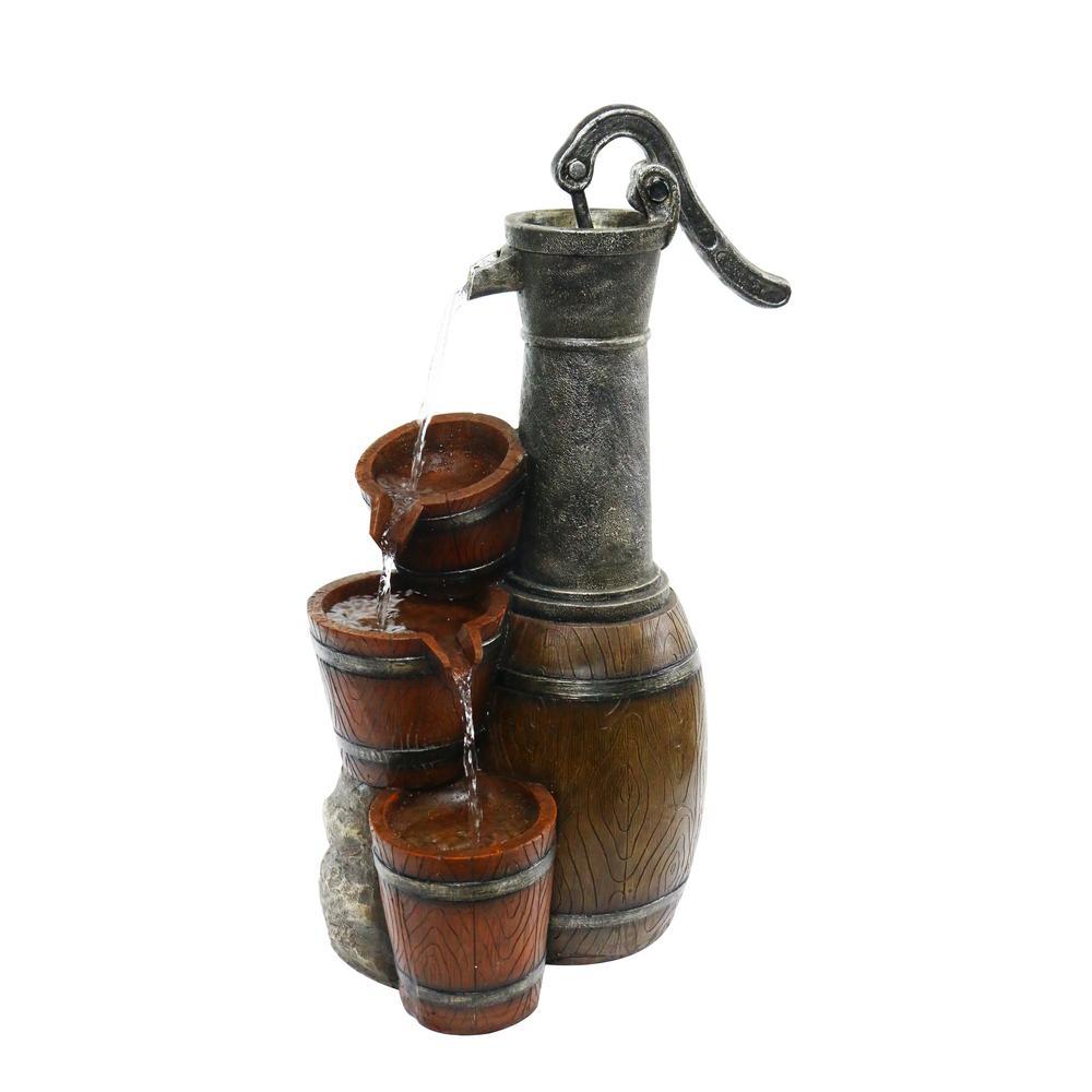 "24"" Vintage Barrel Water Pump with Buckets Fountain"
