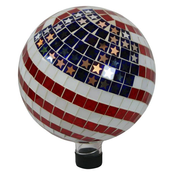 "10"" Mosaic American Flag Gazing Ball"