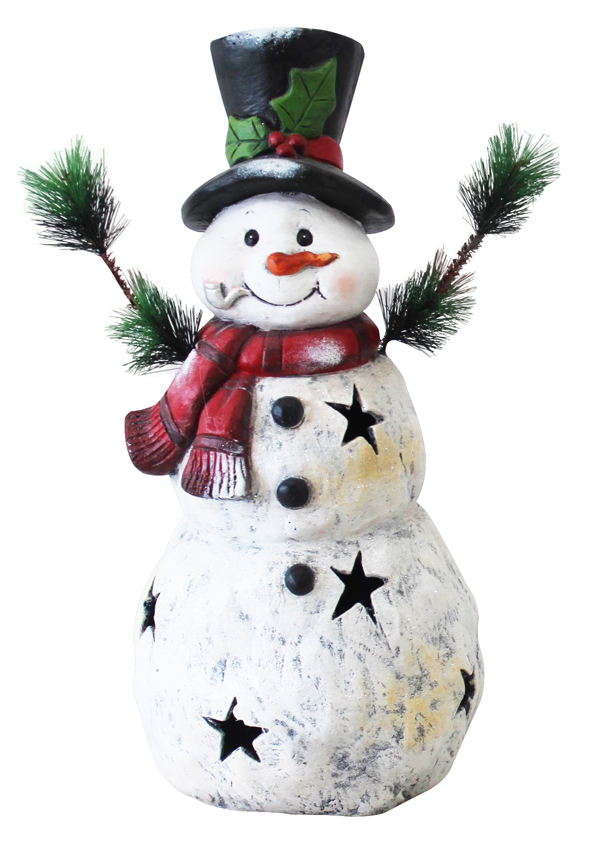 "22"" Christmas Snowman Statuary with Black Stars"