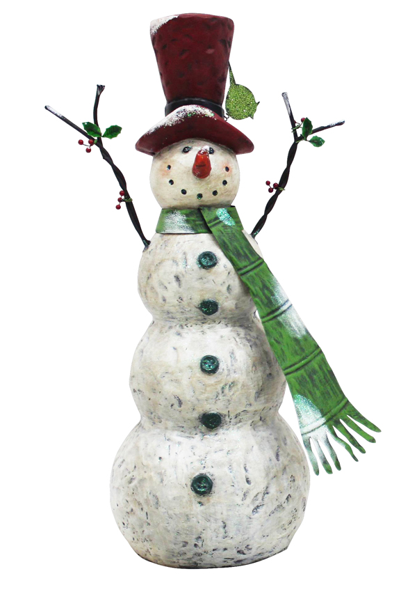 "30"" Chistmas Tall Snowman with Green Scarf"