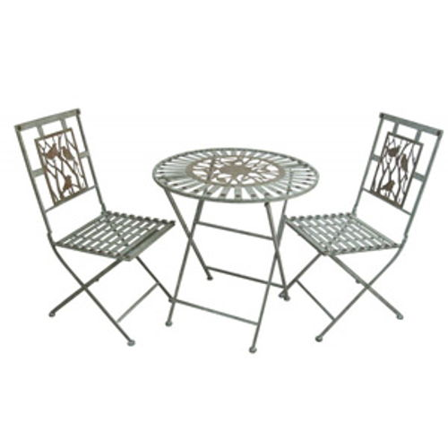 Metal Bistro Set, 1 Table and 2 Chairs