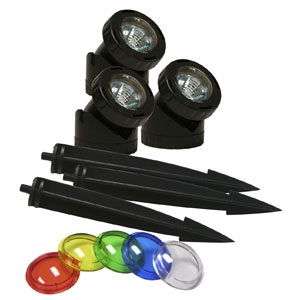 Power Beam 10W Lights (Set of 3) 23Ft. Cord with Color Lenses