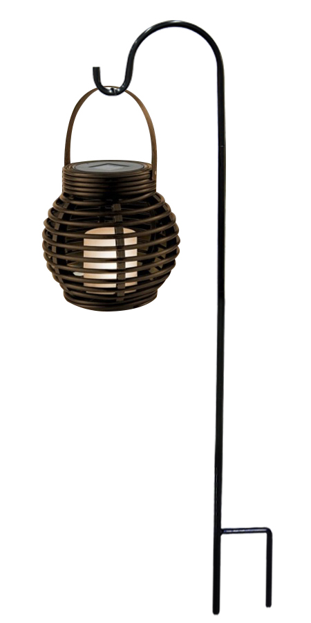 "33"" Solar LED Lantern with Shepard's Hook Metal Stake"