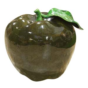 "11"" Dark Green Ceramic Apple"