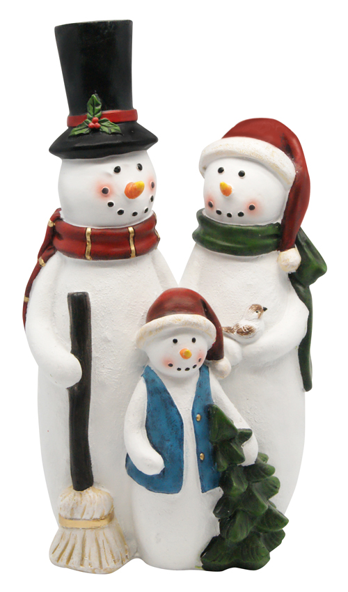 "12"" Snowman Family Statue"