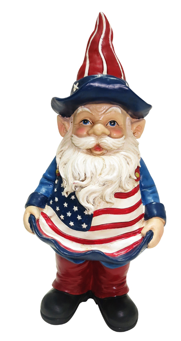 "12"" Americana Gnome with Bird Feeder"