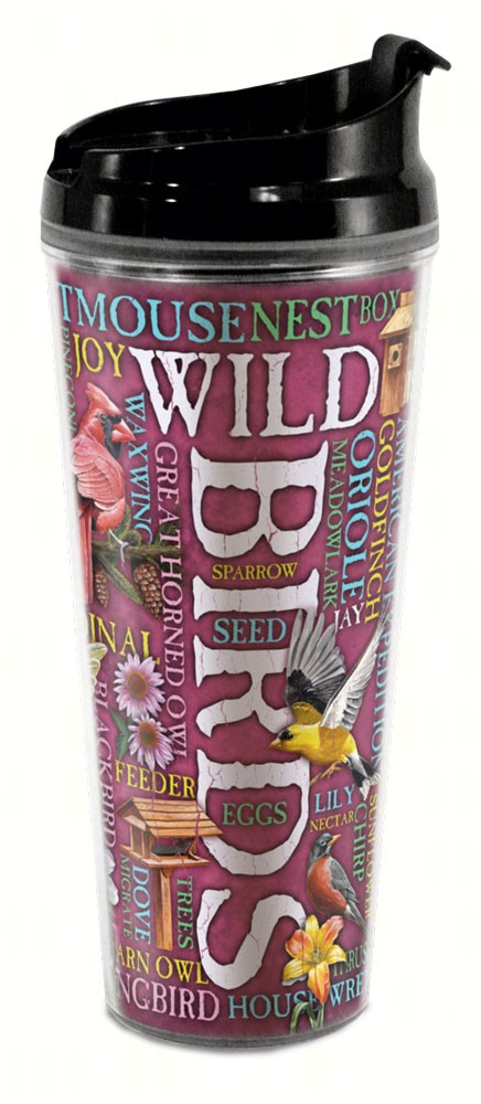 Wild Birds Word Design Tall Tumbler 24oz