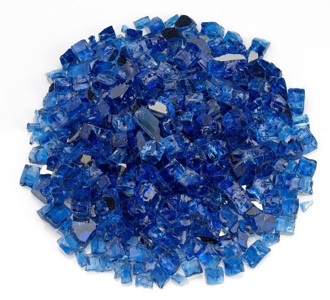 """1/2"""" Cobalt Blue Reflective Fire Glass, 10 lb. Jar"""