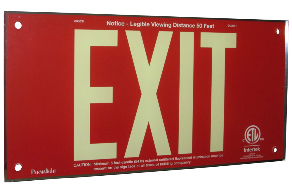 UL924 Red Acrylic EXIT Sign