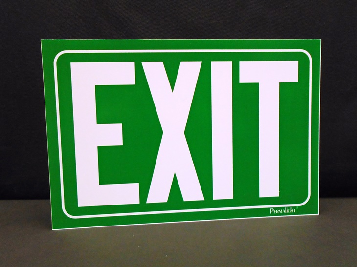EXIT Sign - Green, NON-adhesive Rigid PVC