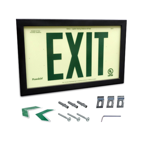 UL924-Listed Plastic EXIT Sign - Green EXIT Legend with Black Aluminum Frame