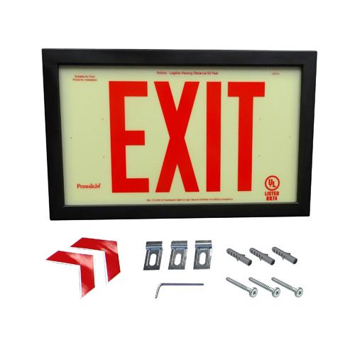 UL924-Plastic EXIT Sign - Red EXIT Legend with Black Aluminum Frame