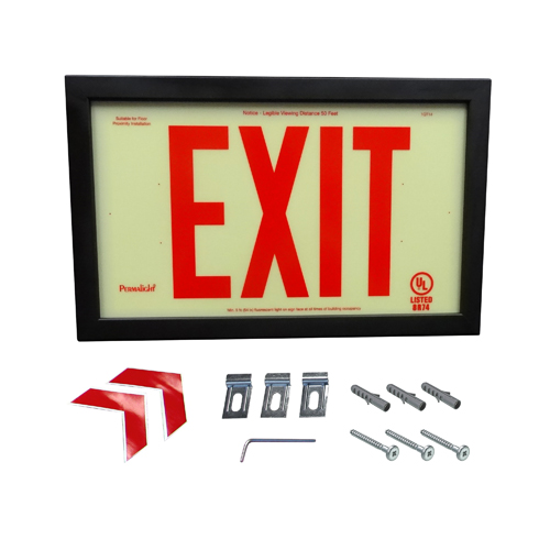 UL924-Listed Plastic EXIT Sign - DOUBLE-SIDED, Red EXIT Legend and Black Aluminum Frame