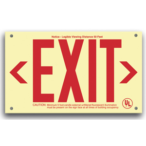 UL924 Plastic EXIT Sign, Red legend