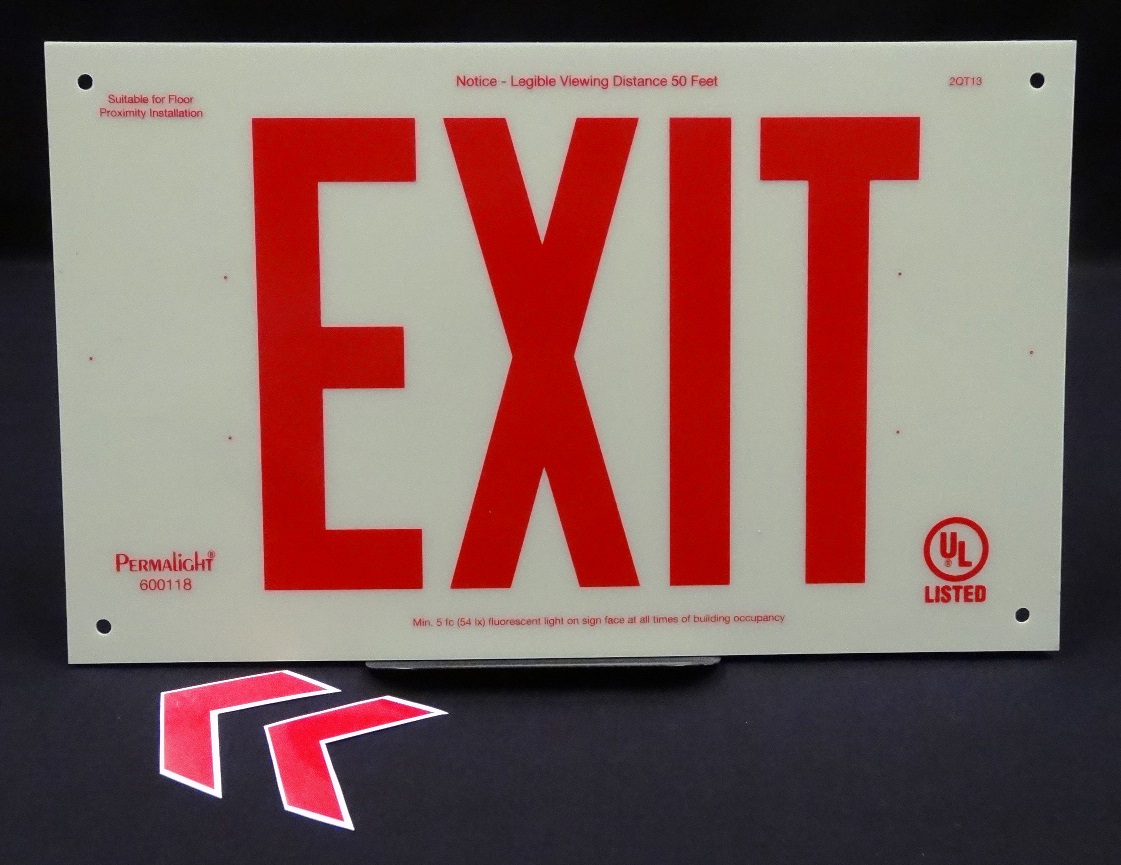 UL924-Listed Plastic EXIT Sign, Red EXIT Legend, unframed