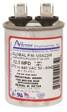 AMRAD ENGINEERING ROUND USA-MADE MOTOR RUN CAPACITOR, 12.5 MFD, 370/440 VAC