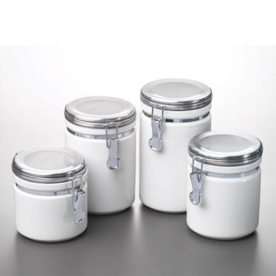 4 Piece White Ceramic Canister Set