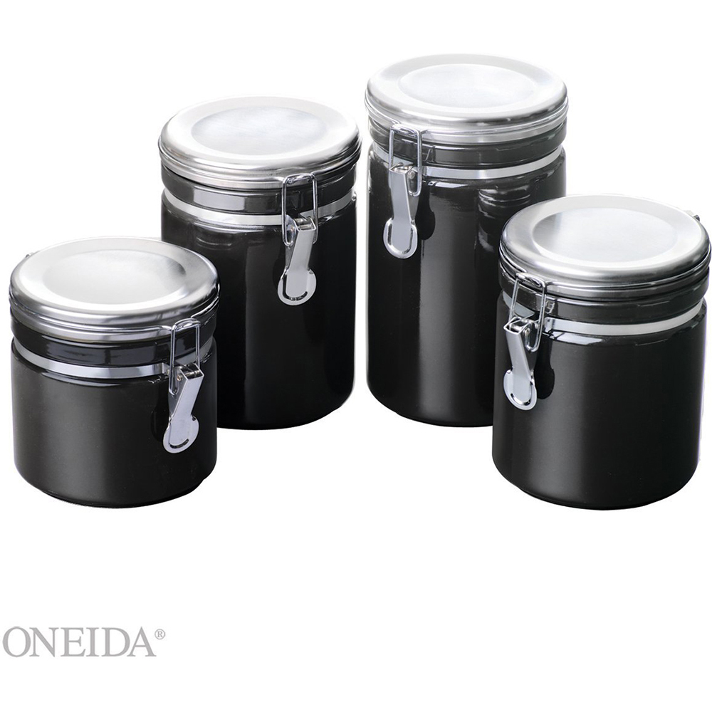 4 Piece Black Ceramic Canister Set