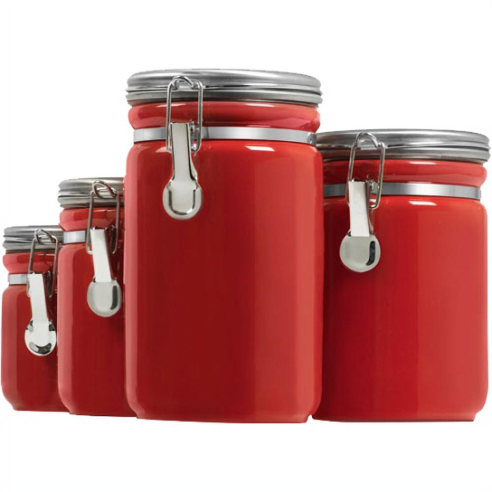 4 Piece Red Ceramic Canister Set