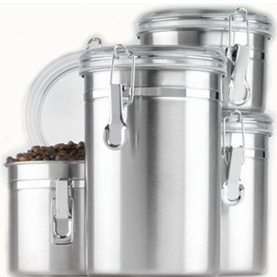 4 Piece Stainless Steel Canister Set Clear Lids