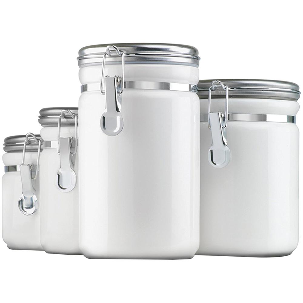 4 Pc. White Ceramic Clamp Top