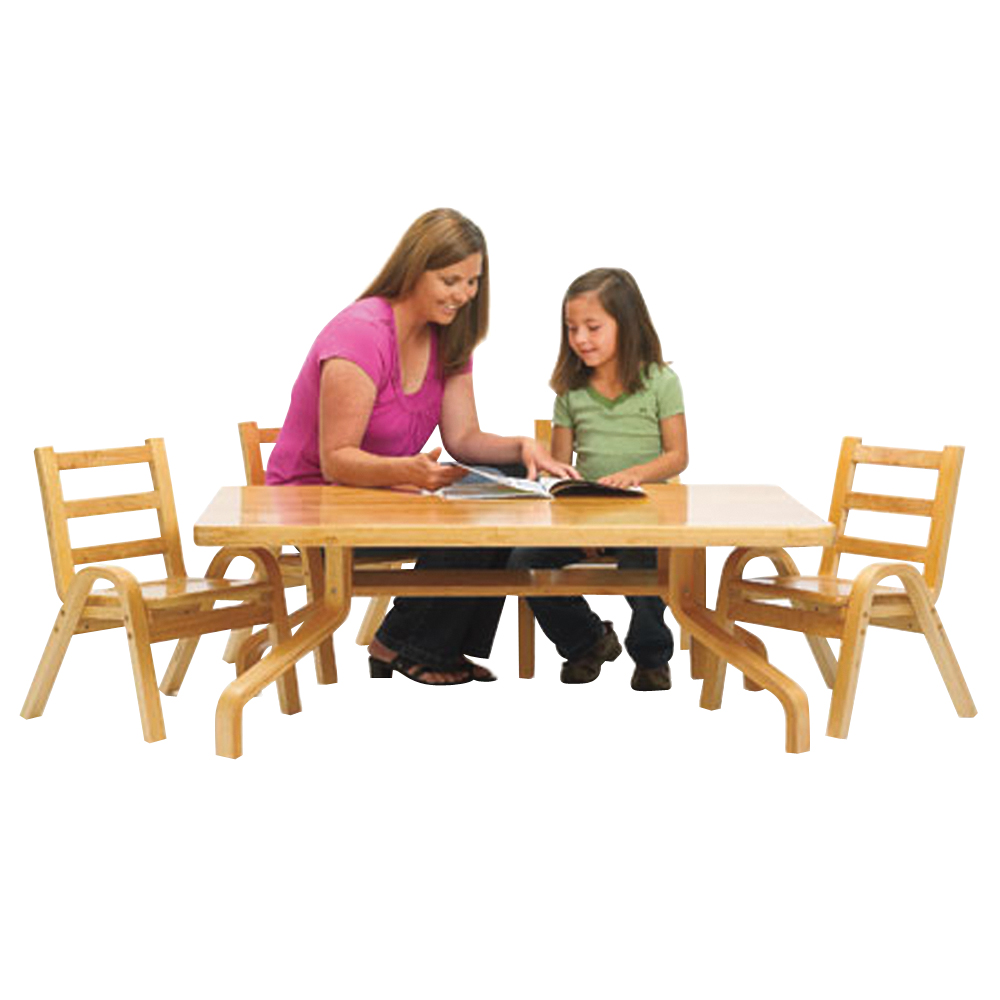 Angeles NaturalWood Collection 30x30x20 Square Preschool Table & Chair Set