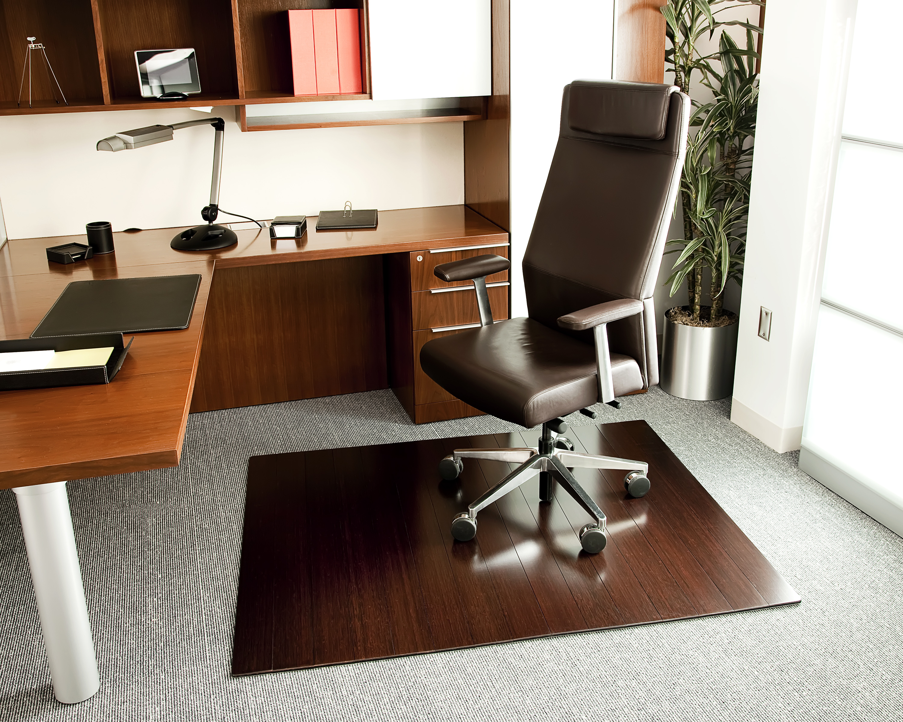 """Bamboo Deluxe Roll-Up Chairmat, 55"""" x 57"""", with lip"""