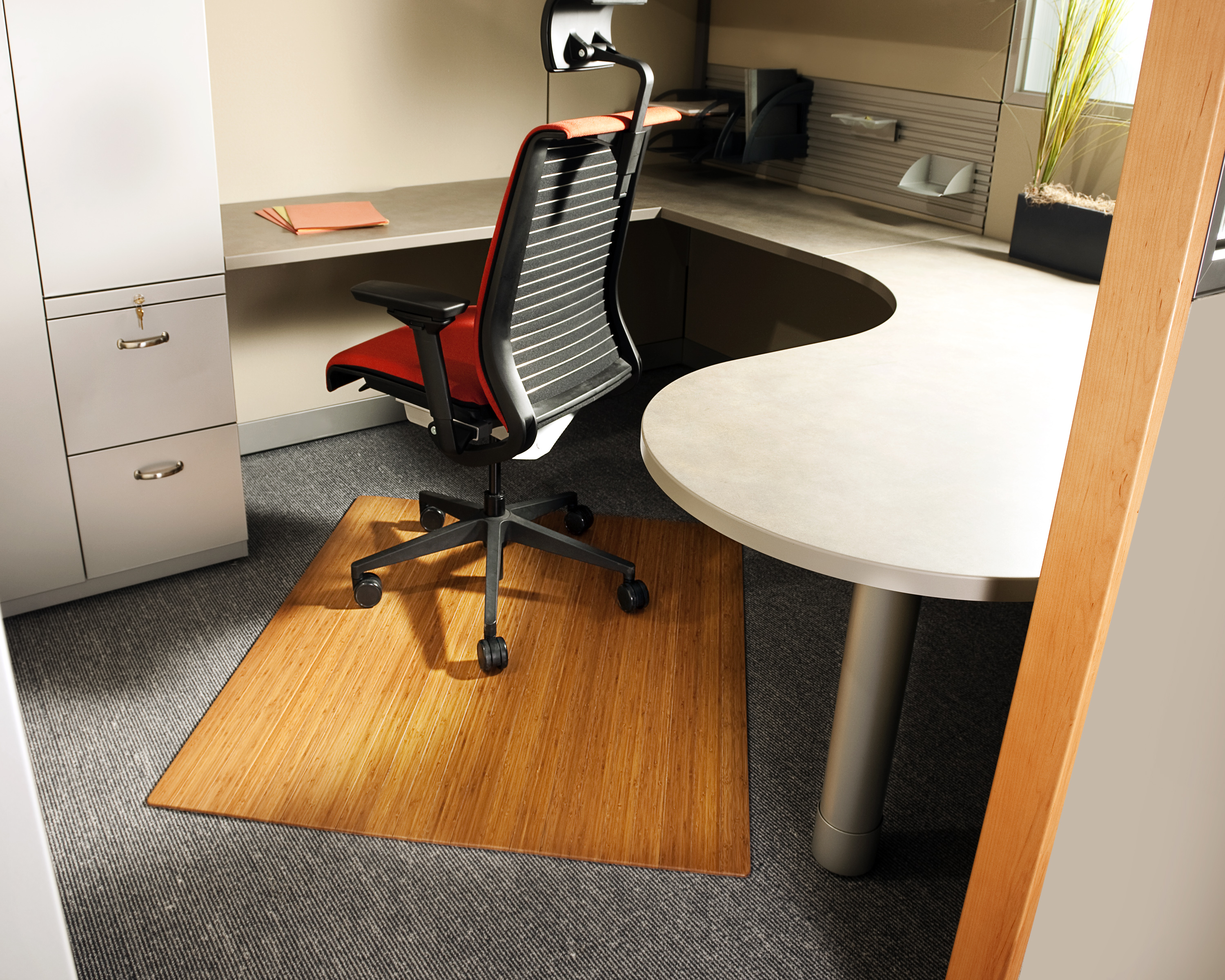 """Bamboo Roll-Up Chairmat, 42"""" x 48"""", no lip"""