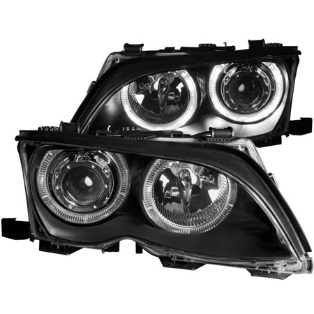 02-05 BMW SERIES 3 E46 4DR HEADLIGHTS PROJECTOR BLACK WITH HALO