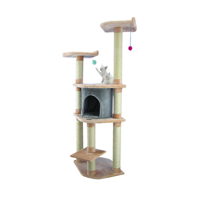 Armarkat 64-Inch Kitten Wooden Step Cat Tower Tree House Condo Scratcher in Blanched Almond W/ Silver Grey Condo