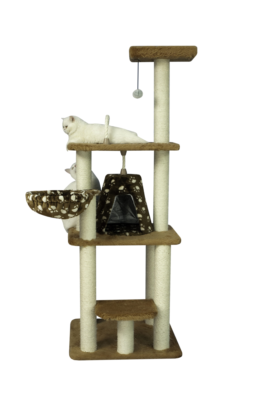 "Armarkat 64"" Cat Wooden Step Classic Tower Tree Condo Scratcher Kitty House Chocolate"