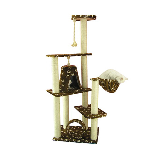 Armarkat 66-Inch Wooden Step Cat Tower Tree Condo Scratcher Kitten house in SaddleBrown W/ White Paw Print