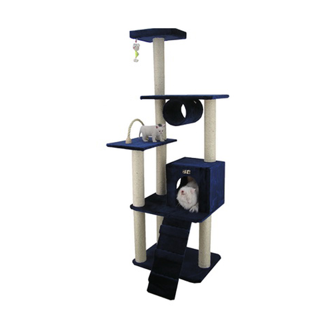 Armarkat 71-Inch Wooden Step Cat Tower Tree Condo Scratcher Kitten House- Navy Blue