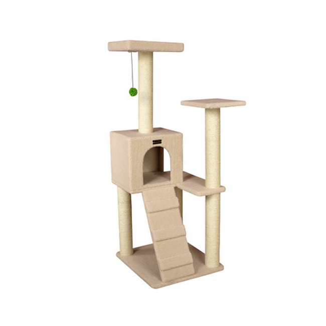 Armarkart 53-Inch Wooden Four Step Cat Tower Tree Condo Scratcher Kitten House- Ivory